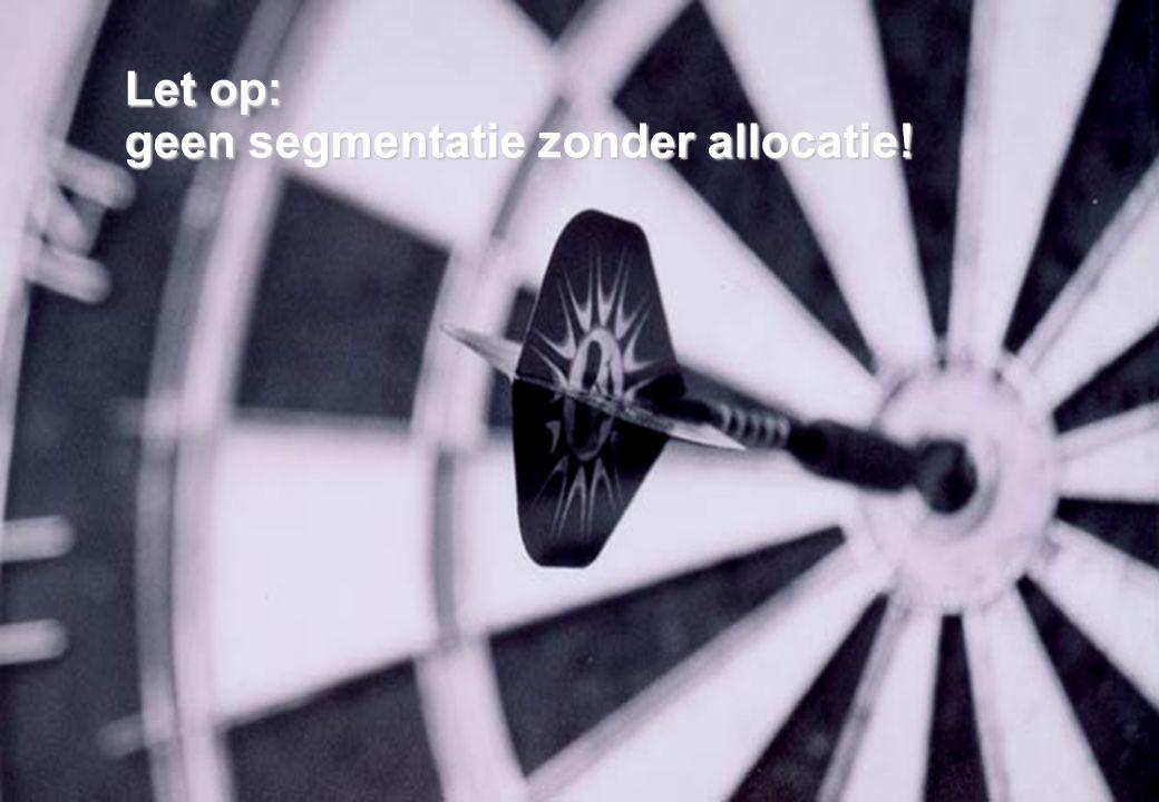 21 november 2008 © ZIEL & ZAKELIJKHEID - Klantgericht Ondernemen 30 Let op: geen segmentatie zonder allocatie!
