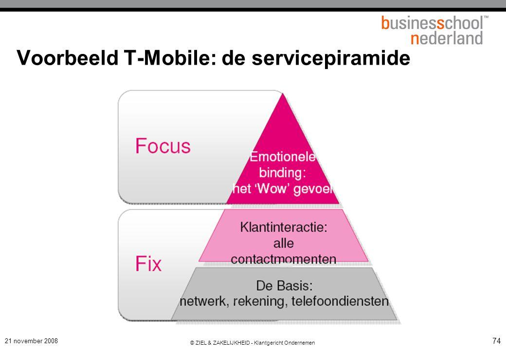 21 november 2008 © ZIEL & ZAKELIJKHEID - Klantgericht Ondernemen 74 Voorbeeld T-Mobile: de servicepiramide