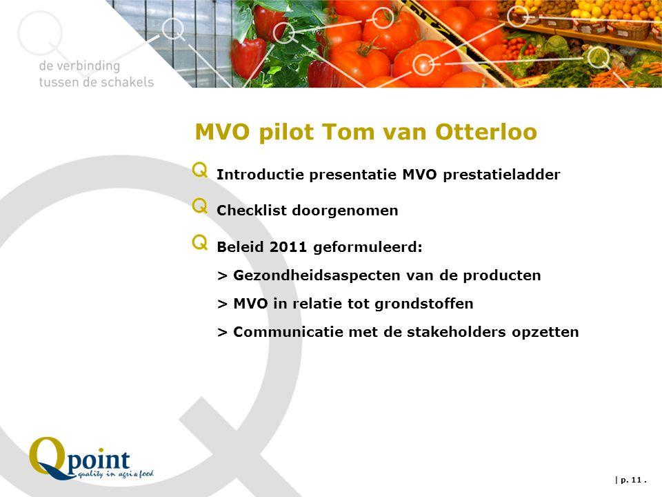 MVO pilot Tom van Otterloo Introductie presentatie MVO prestatieladder Checklist doorgenomen Beleid 2011 geformuleerd: > Gezondheidsaspecten van de pr