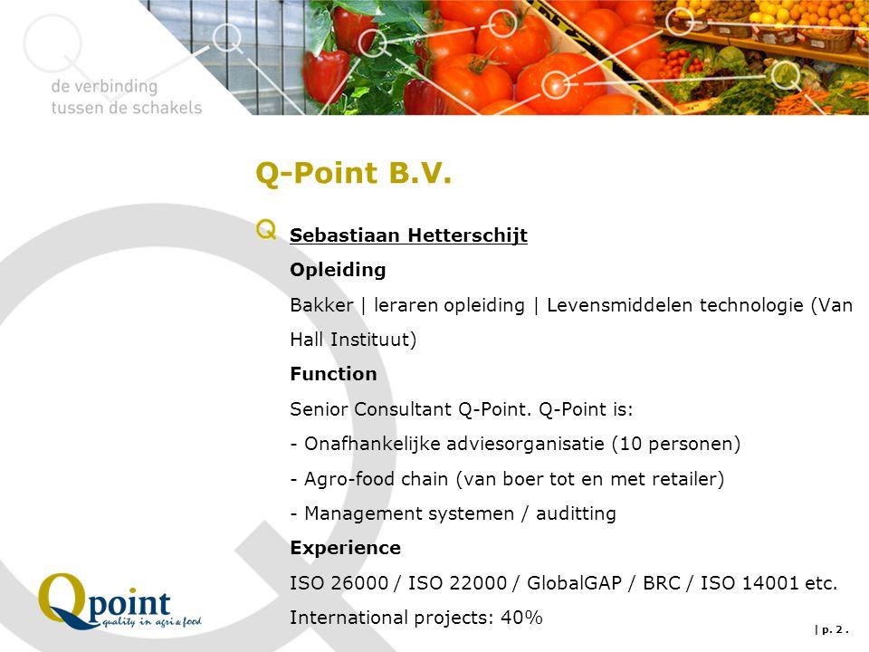Q-Point B.V. Sebastiaan Hetterschijt Opleiding Bakker | leraren opleiding | Levensmiddelen technologie (Van Hall Instituut) Function Senior Consultant