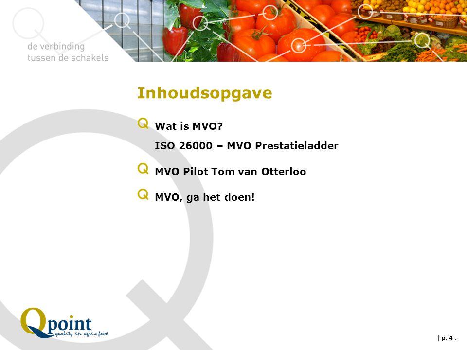 Inhoudsopgave Wat is MVO? ISO 26000 – MVO Prestatieladder MVO Pilot Tom van Otterloo MVO, ga het doen! | p. 4.