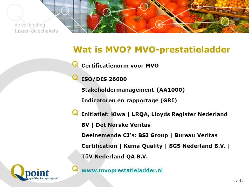 Wat is MVO? MVO-prestatieladder Certificatienorm voor MVO ISO/DIS 26000 Stakeholdermanagement (AA1000) Indicatoren en rapportage (GRI) Initiatief: Kiw