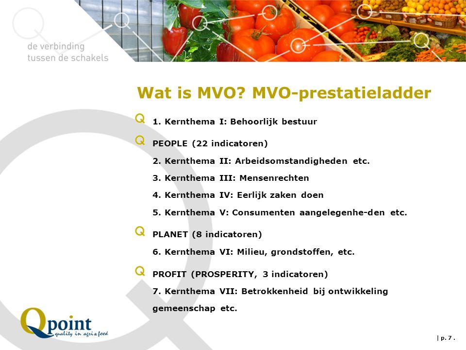 Wat is MVO? MVO-prestatieladder 1. Kernthema I: Behoorlijk bestuur PEOPLE (22 indicatoren) 2. Kernthema II: Arbeidsomstandigheden etc. 3. Kernthema II