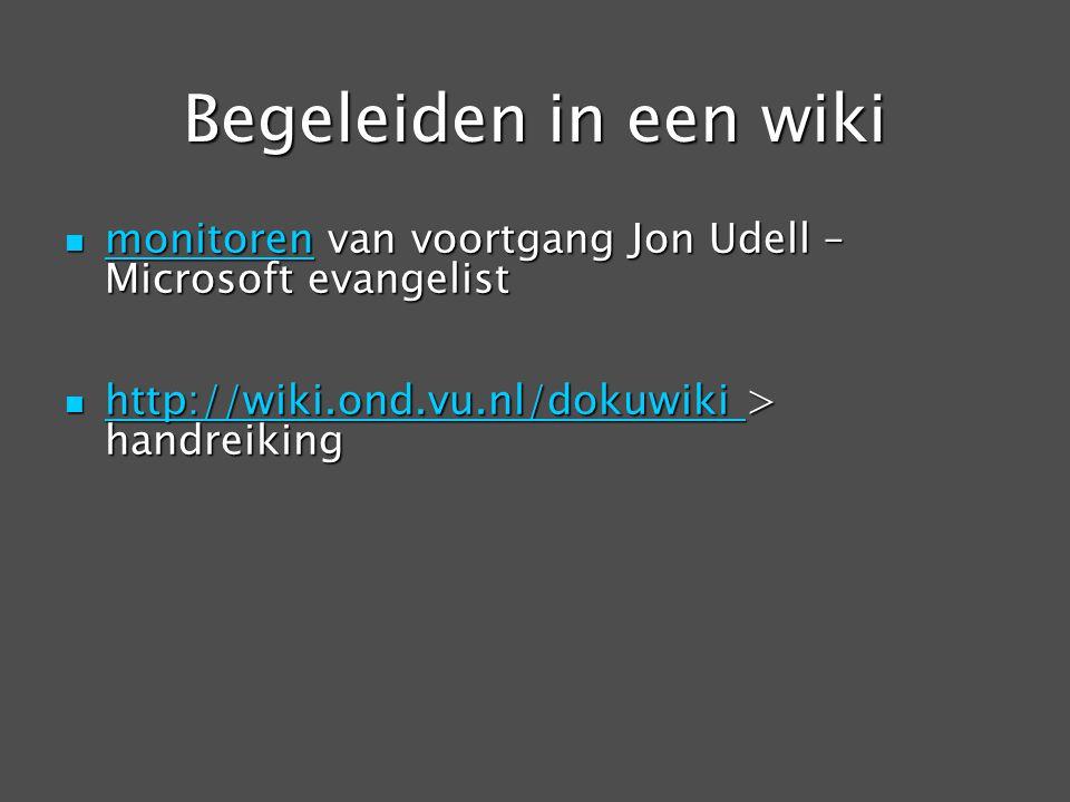 Begeleiden in een wiki monitoren van voortgang Jon Udell – Microsoft evangelist monitoren van voortgang Jon Udell – Microsoft evangelist monitoren htt
