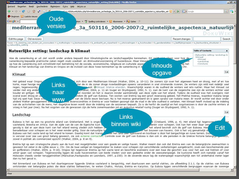 Inhouds opgave Links binnen wiki Oude versies Edit Links naar www