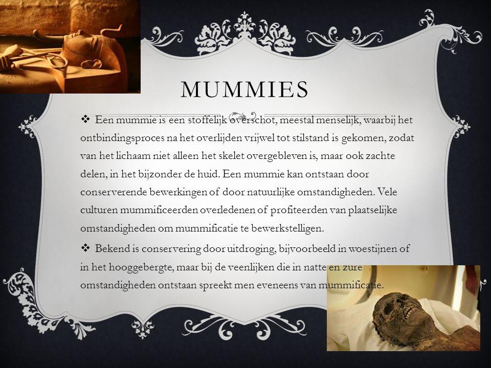 MUMMIES  Een mummie is een stoffelijk overschot, meestal menselijk, waarbij het ontbindingsproces na het overlijden vrijwel tot stilstand is gekomen,