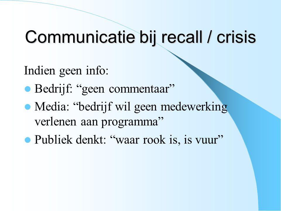 Communicatie bij recall / crisis Indien geen info: Bedrijf: geen commentaar Media: bedrijf wil geen medewerking verlenen aan programma Publiek denkt: waar rook is, is vuur
