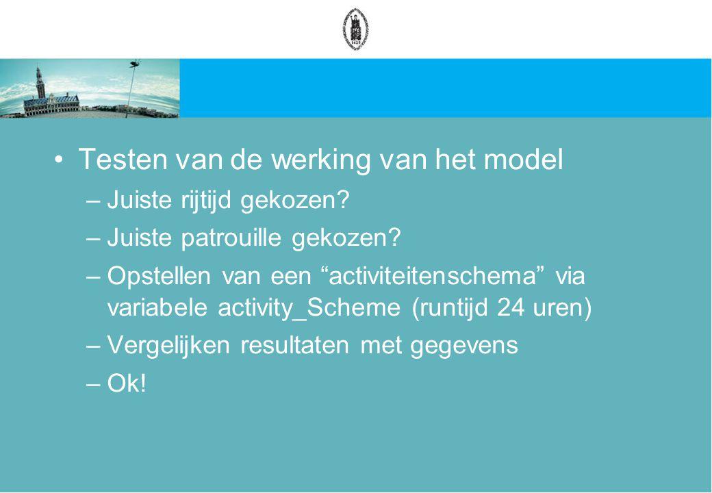 Testen van de werking van het model –Juiste rijtijd gekozen.