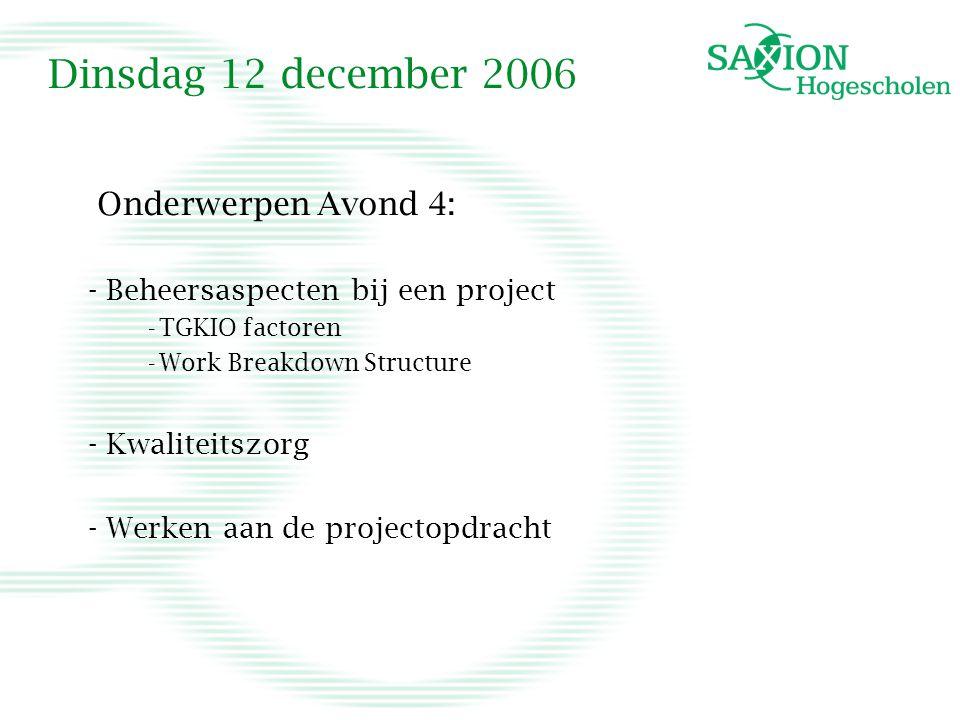 Dinsdag 12 december 2006 Onderwerpen Avond 4: - Beheersaspecten bij een project -TGKIO factoren -Work Breakdown Structure - Kwaliteitszorg - Werken aan de projectopdracht
