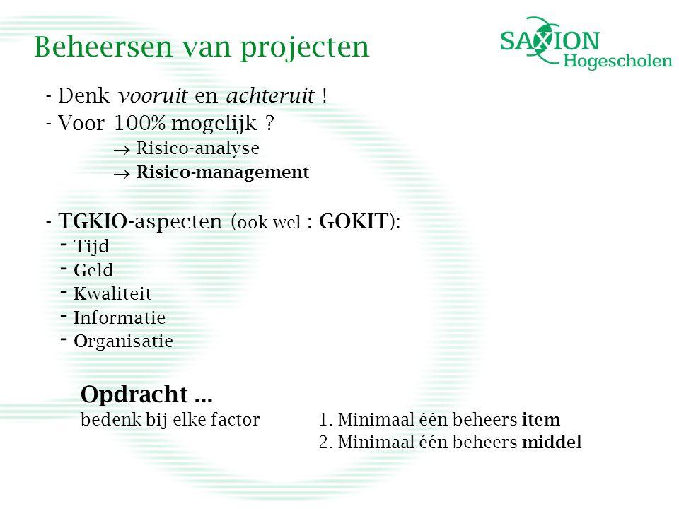 Beheersen van projecten - Denk vooruit en achteruit .