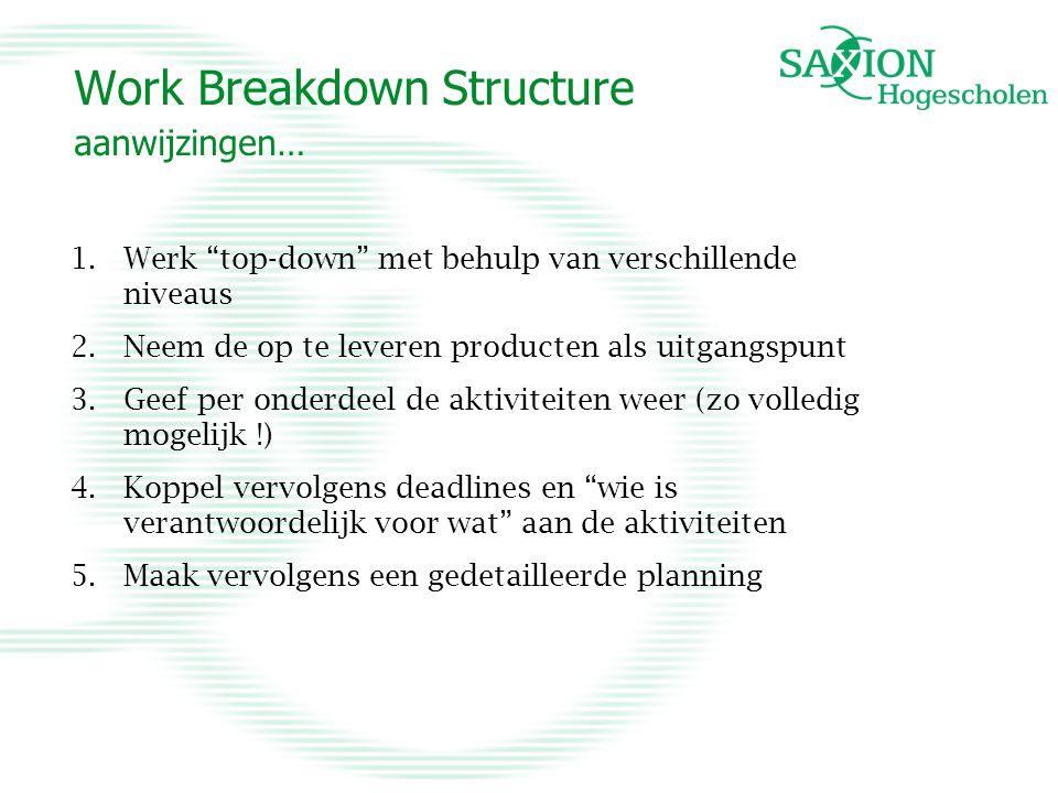 Work Breakdown Structure aanwijzingen… 1.Werk top-down met behulp van verschillende niveaus 2.Neem de op te leveren producten als uitgangspunt 3.Geef per onderdeel de aktiviteiten weer (zo volledig mogelijk !) 4.Koppel vervolgens deadlines en wie is verantwoordelijk voor wat aan de aktiviteiten 5.Maak vervolgens een gedetailleerde planning