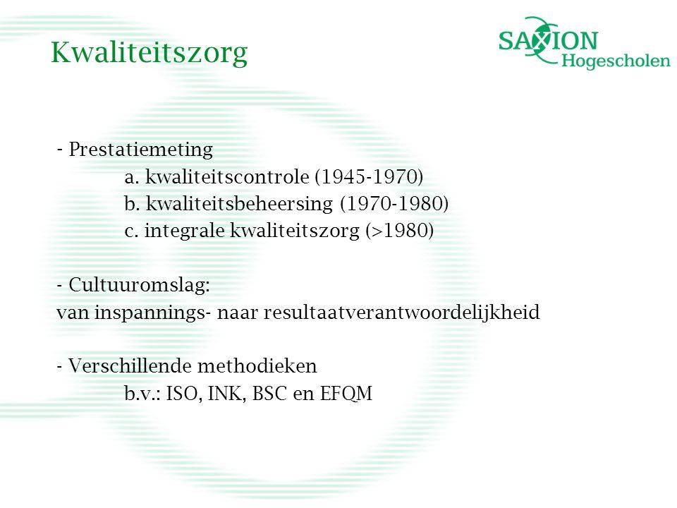 Kwaliteitszorg - Prestatiemeting a.kwaliteitscontrole (1945-1970) b.