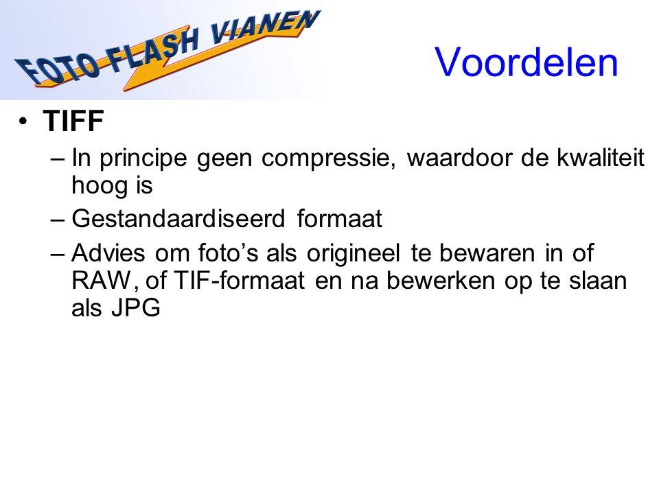 Voordelen TIFF –In principe geen compressie, waardoor de kwaliteit hoog is –Gestandaardiseerd formaat –Advies om foto's als origineel te bewaren in of