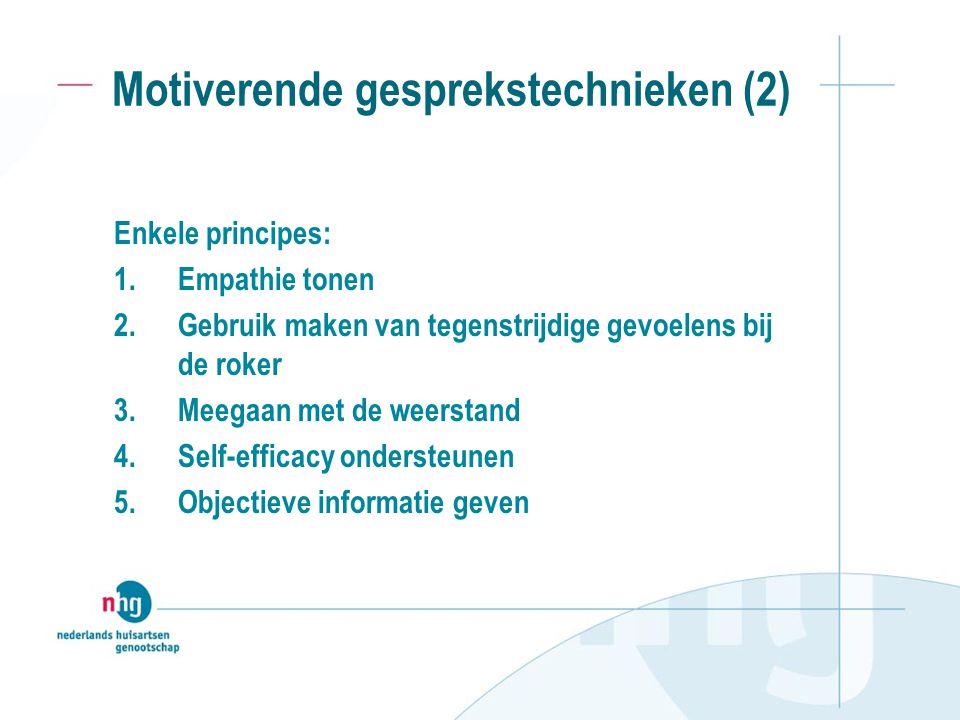 Motiverende gesprekstechnieken (2) Enkele principes: 1.Empathie tonen 2.Gebruik maken van tegenstrijdige gevoelens bij de roker 3.Meegaan met de weerstand 4.Self-efficacy ondersteunen 5.Objectieve informatie geven