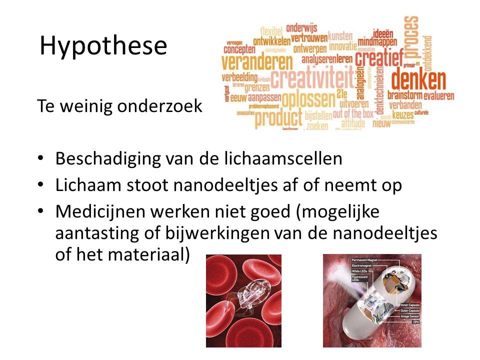 Hypothese Te weinig onderzoek Beschadiging van de lichaamscellen Lichaam stoot nanodeeltjes af of neemt op Medicijnen werken niet goed (mogelijke aant