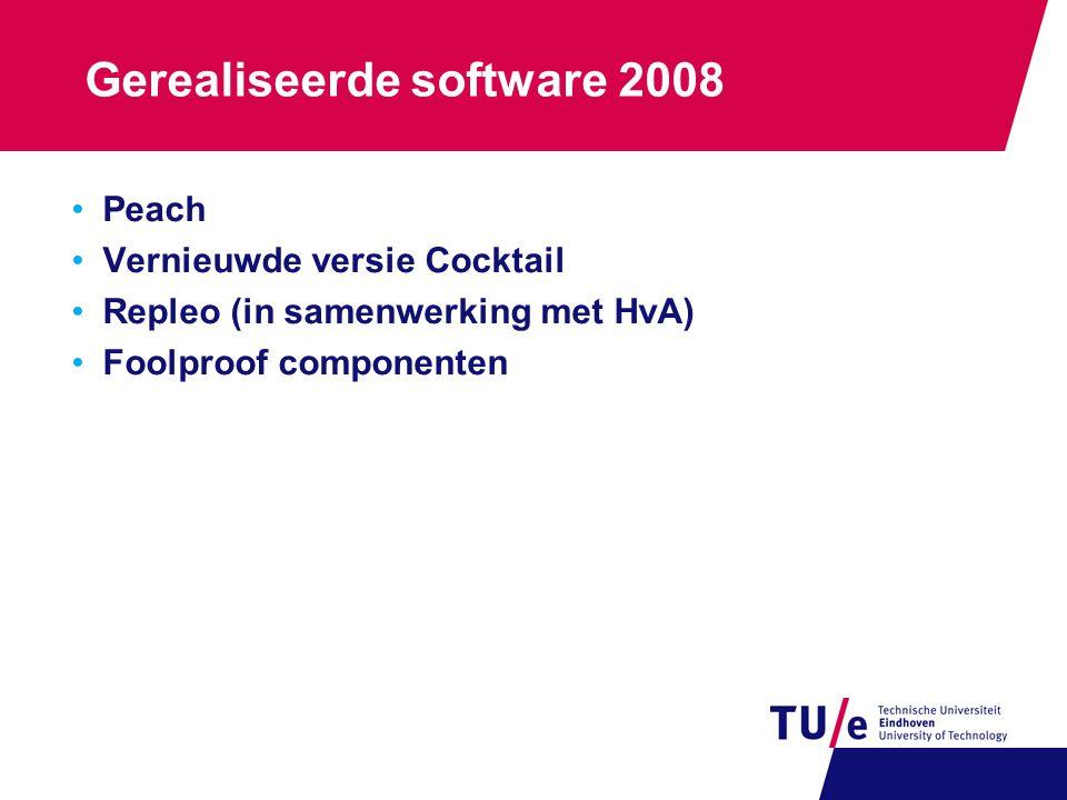 Gerealiseerde software 2008 Peach Vernieuwde versie Cocktail Repleo (in samenwerking met HvA) Foolproof componenten