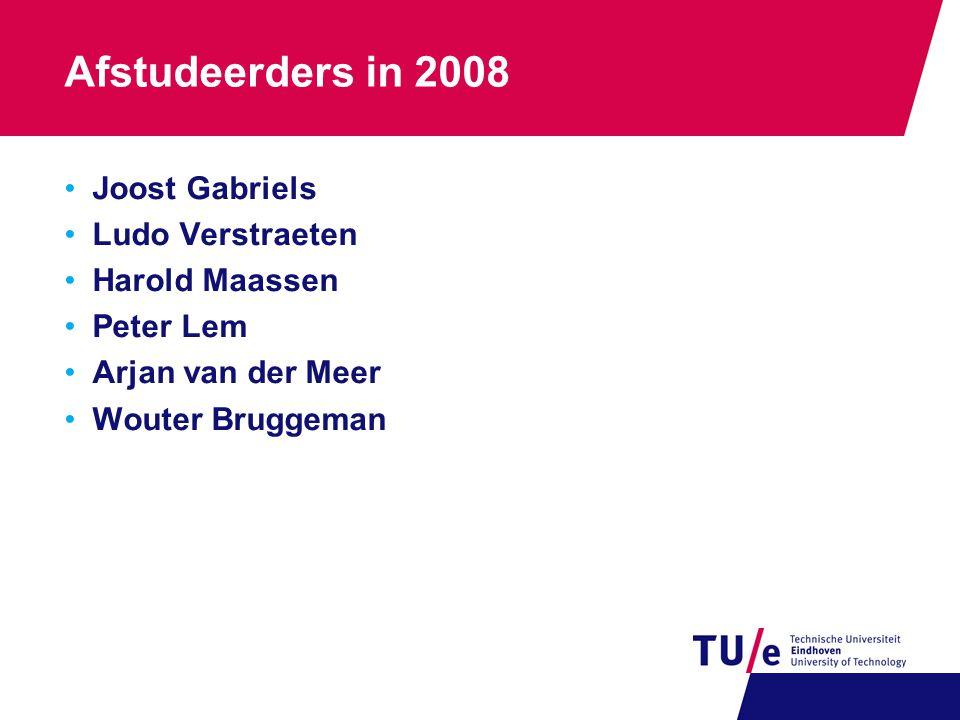 Afstudeerders in 2008 Joost Gabriels Ludo Verstraeten Harold Maassen Peter Lem Arjan van der Meer Wouter Bruggeman