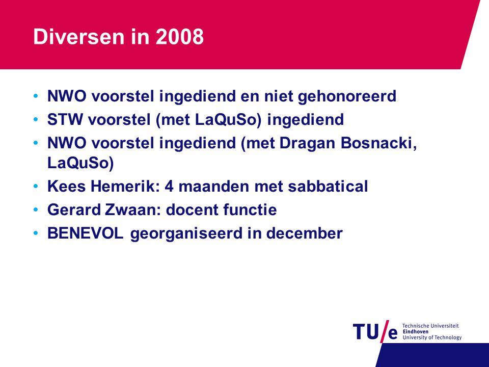 Diversen in 2008 NWO voorstel ingediend en niet gehonoreerd STW voorstel (met LaQuSo) ingediend NWO voorstel ingediend (met Dragan Bosnacki, LaQuSo) K