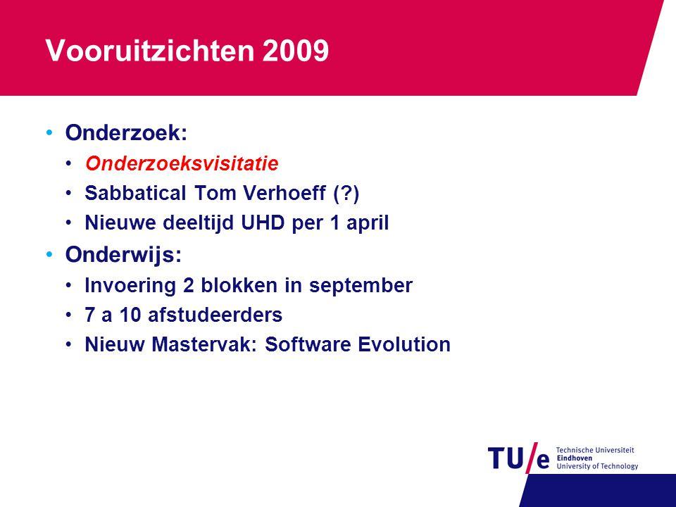 Vooruitzichten 2009 Onderzoek: Onderzoeksvisitatie Sabbatical Tom Verhoeff (?) Nieuwe deeltijd UHD per 1 april Onderwijs: Invoering 2 blokken in september 7 a 10 afstudeerders Nieuw Mastervak: Software Evolution