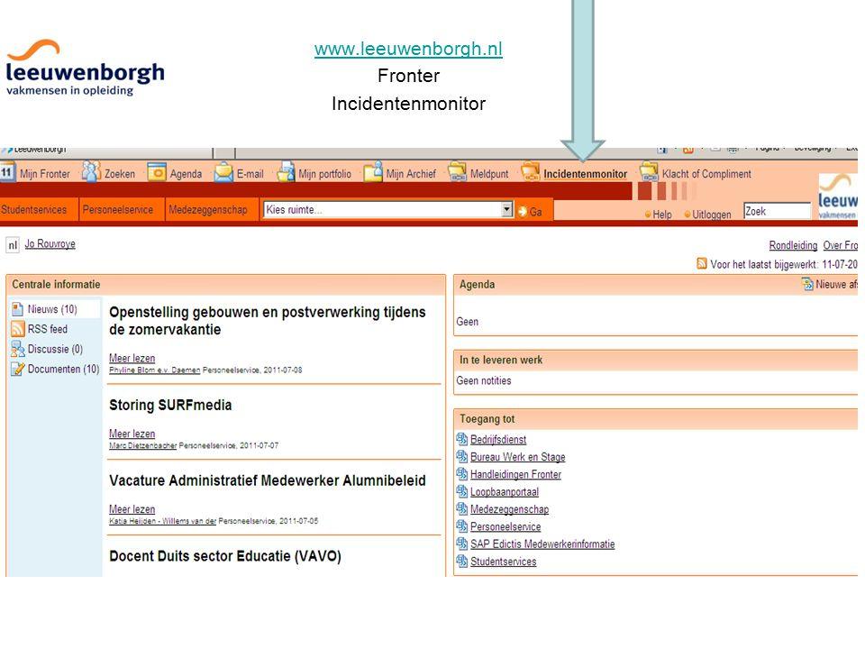 www.leeuwenborgh.nl Fronter Incidentenmonitor