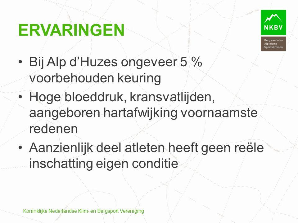 Bij Alp d'Huzes ongeveer 5 % voorbehouden keuring Hoge bloeddruk, kransvatlijden, aangeboren hartafwijking voornaamste redenen Aanzienlijk deel atlete
