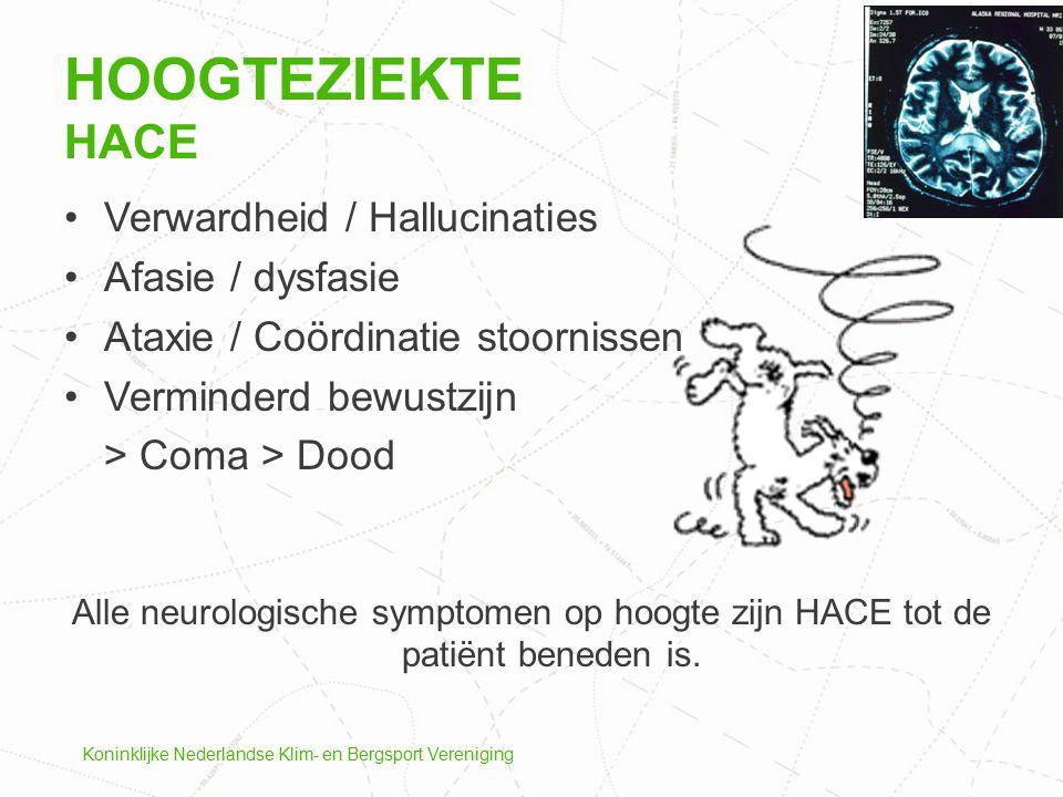 Koninklijke Nederlandse Klim- en Bergsport Vereniging Verwardheid / Hallucinaties Afasie / dysfasie Ataxie / Coördinatie stoornissen Verminderd bewust