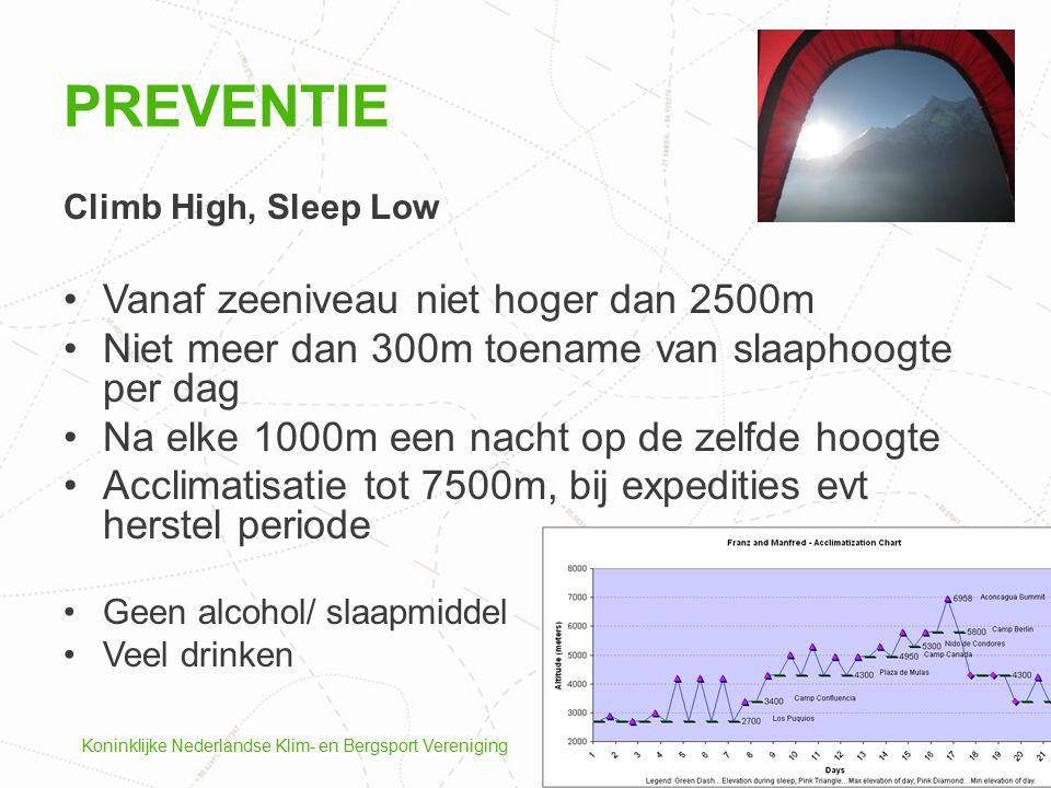Koninklijke Nederlandse Klim- en Bergsport Vereniging Climb High, Sleep Low Vanaf zeeniveau niet hoger dan 2500m Niet meer dan 300m toename van slaaph