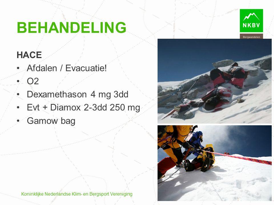 Koninklijke Nederlandse Klim- en Bergsport Vereniging HACE Afdalen / Evacuatie! O2 Dexamethason 4 mg 3dd Evt + Diamox 2-3dd 250 mg Gamow bag BEHANDELI