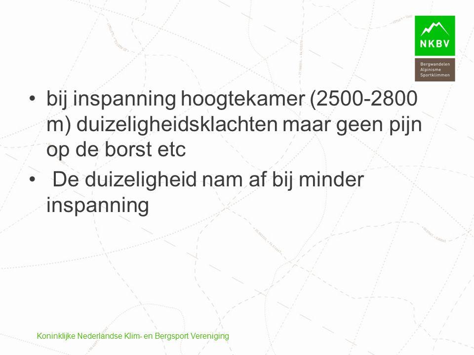 Koninklijke Nederlandse Klim- en Bergsport Vereniging bij inspanning hoogtekamer (2500-2800 m) duizeligheidsklachten maar geen pijn op de borst etc De