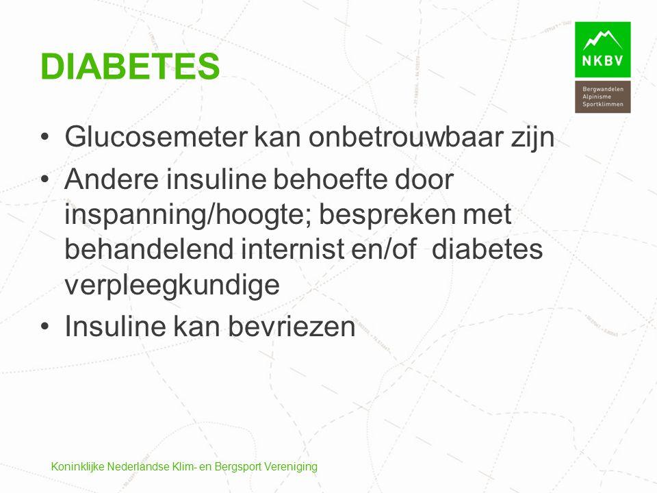 Koninklijke Nederlandse Klim- en Bergsport Vereniging DIABETES Glucosemeter kan onbetrouwbaar zijn Andere insuline behoefte door inspanning/hoogte; be