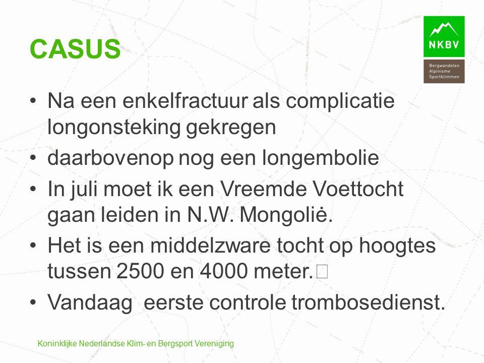 Koninklijke Nederlandse Klim- en Bergsport Vereniging CASUS Na een enkelfractuur als complicatie longonsteking gekregen daarbovenop nog een longemboli