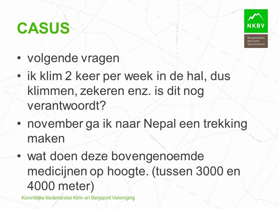 Koninklijke Nederlandse Klim- en Bergsport Vereniging CASUS volgende vragen ik klim 2 keer per week in de hal, dus klimmen, zekeren enz. is dit nog ve