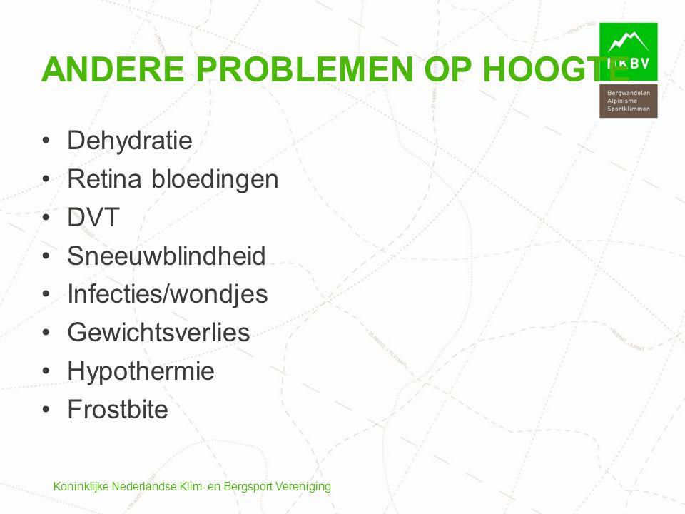 Koninklijke Nederlandse Klim- en Bergsport Vereniging ANDERE PROBLEMEN OP HOOGTE Dehydratie Retina bloedingen DVT Sneeuwblindheid Infecties/wondjes Ge
