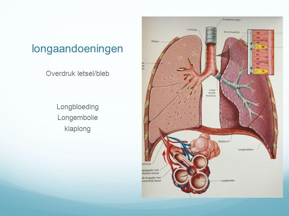 longaandoeningen Overdruk letsel/bleb Longbloeding Longembolie klaplong