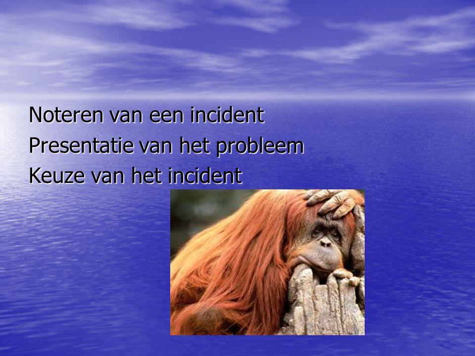 Noteren van een incident Presentatie van het probleem Keuze van het incident