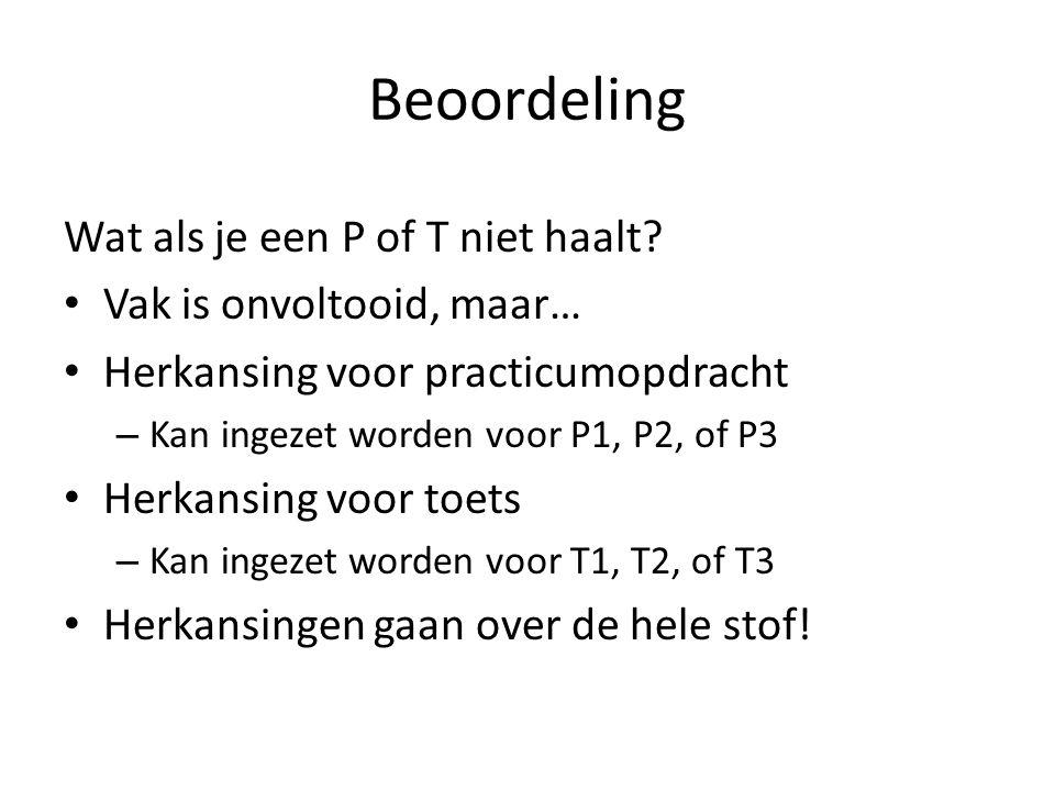 Beoordeling Wat als je een P of T niet haalt? Vak is onvoltooid, maar… Herkansing voor practicumopdracht – Kan ingezet worden voor P1, P2, of P3 Herka