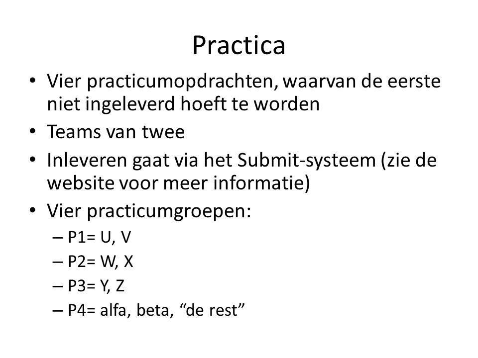 Practica Vier practicumopdrachten, waarvan de eerste niet ingeleverd hoeft te worden Teams van twee Inleveren gaat via het Submit-systeem (zie de webs