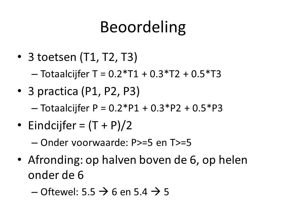 Beoordeling 3 toetsen (T1, T2, T3) – Totaalcijfer T = 0.2*T1 + 0.3*T2 + 0.5*T3 3 practica (P1, P2, P3) – Totaalcijfer P = 0.2*P1 + 0.3*P2 + 0.5*P3 Ein