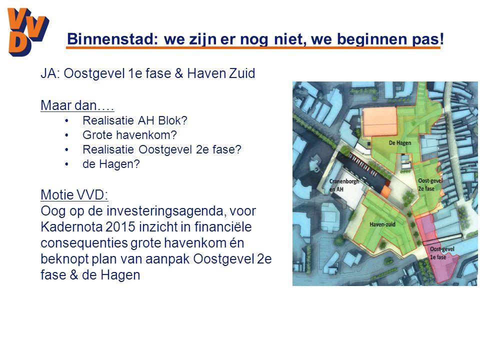 Binnenstad: we zijn er nog niet, we beginnen pas! JA: Oostgevel 1e fase & Haven Zuid Maar dan…. Realisatie AH Blok? Grote havenkom? Realisatie Oostgev