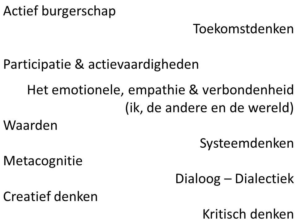 Actief burgerschap Toekomstdenken Participatie & actievaardigheden Het emotionele, empathie & verbondenheid (ik, de andere en de wereld) Waarden Systeemdenken Metacognitie Dialoog – Dialectiek Creatief denken Kritisch denken