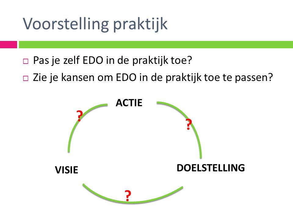 Voorstelling praktijk  Pas je zelf EDO in de praktijk toe.