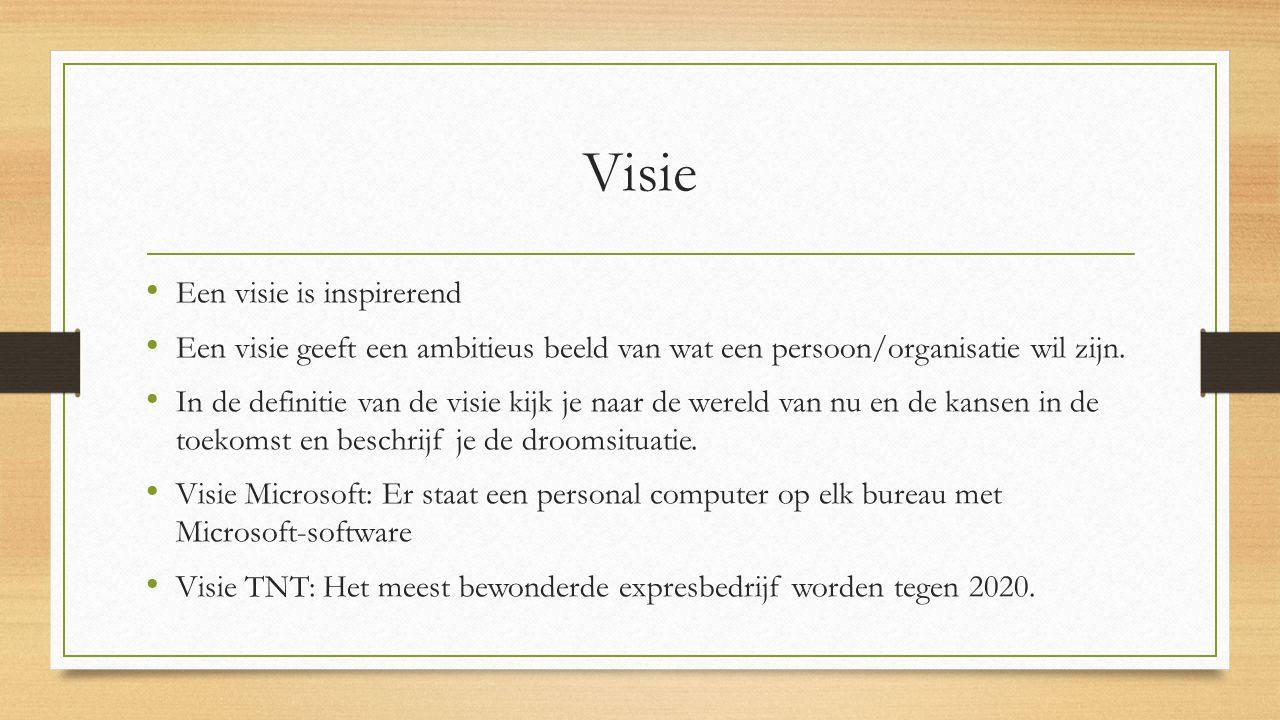 Visie Een visie is inspirerend Een visie geeft een ambitieus beeld van wat een persoon/organisatie wil zijn. In de definitie van de visie kijk je naar