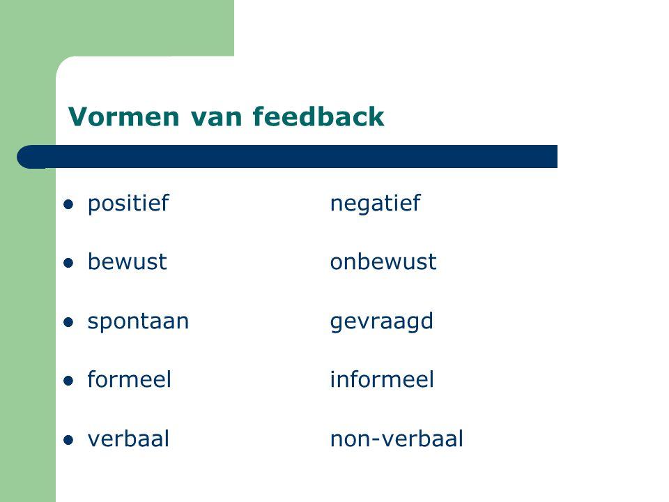 Vormen van feedback positiefnegatief bewustonbewust spontaangevraagd formeelinformeel verbaalnon-verbaal