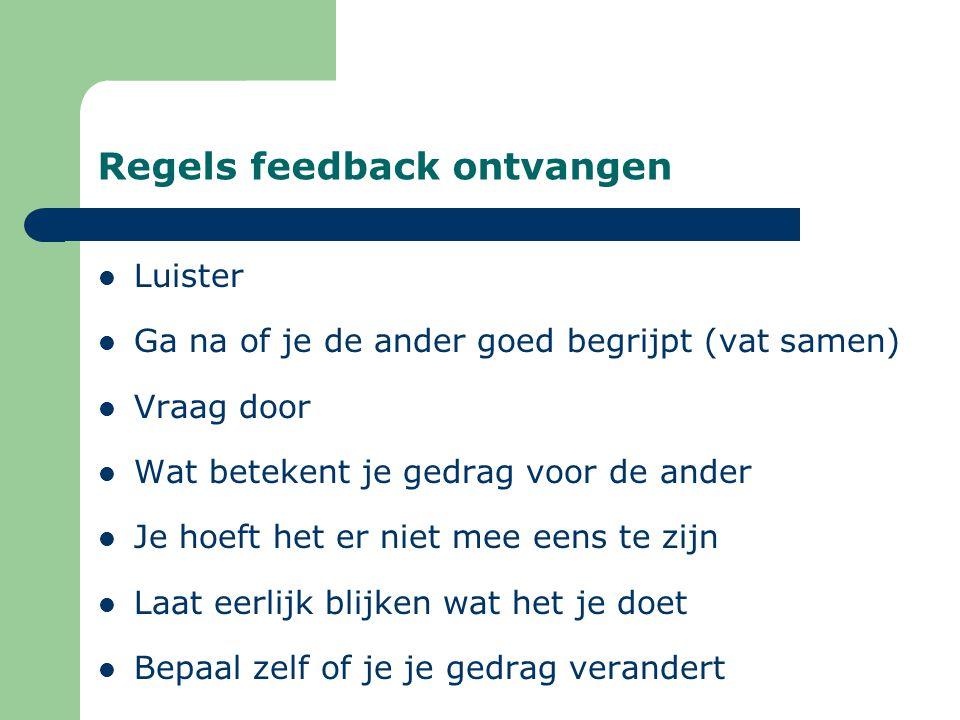 Regels feedback ontvangen Luister Ga na of je de ander goed begrijpt (vat samen) Vraag door Wat betekent je gedrag voor de ander Je hoeft het er niet