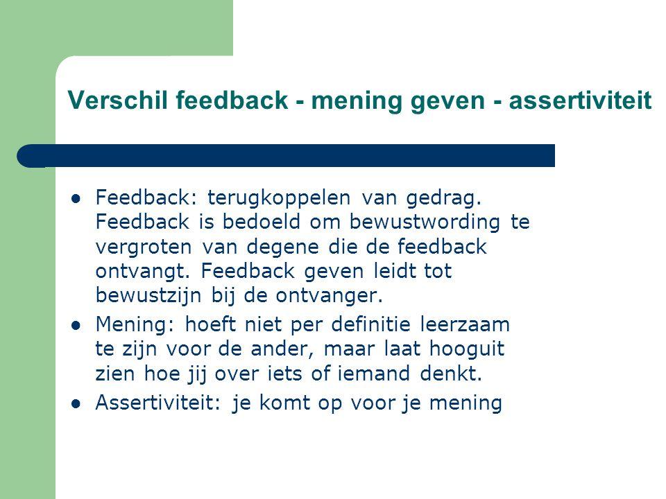 Verschil feedback - mening geven - assertiviteit Feedback: terugkoppelen van gedrag. Feedback is bedoeld om bewustwording te vergroten van degene die