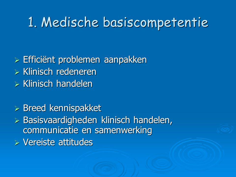 1. Medische basiscompetentie  Efficiënt problemen aanpakken  Klinisch redeneren  Klinisch handelen  Breed kennispakket  Basisvaardigheden klinisc