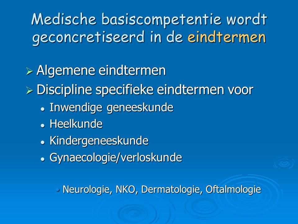 Medische basiscompetentie wordt geconcretiseerd in de eindtermen  Algemene eindtermen  Discipline specifieke eindtermen voor Inwendige geneeskunde I