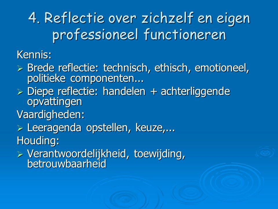 4. Reflectie over zichzelf en eigen professioneel functioneren Kennis:  Brede reflectie: technisch, ethisch, emotioneel, politieke componenten...  D