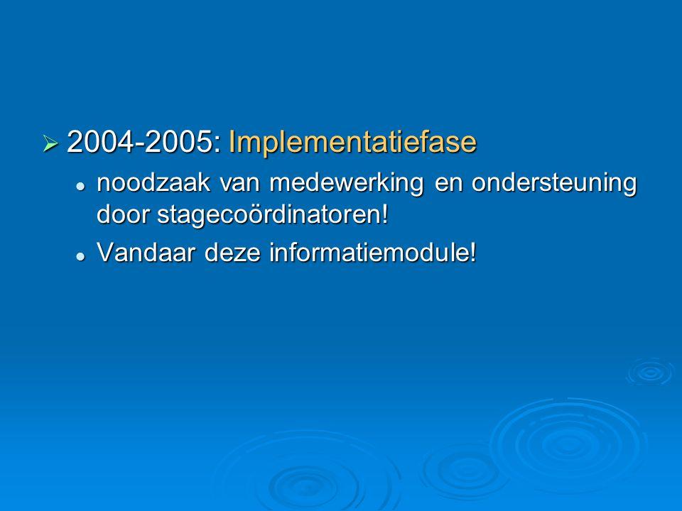  2004-2005: Implementatiefase noodzaak van medewerking en ondersteuning door stagecoördinatoren.