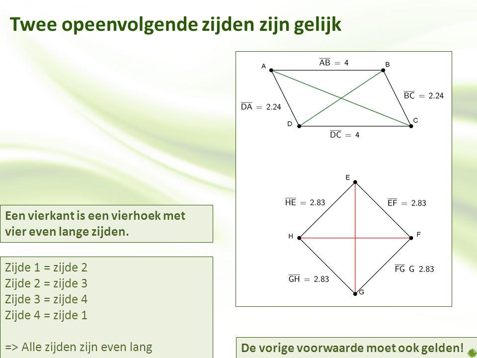 Twee opeenvolgende zijden zijn gelijk Zijde 1 = zijde 2 Zijde 2 = zijde 3 Zijde 3 = zijde 4 Zijde 4 = zijde 1 => Alle zijden zijn even lang Een vierkant is een vierhoek met vier even lange zijden.